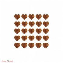 Стразы для ногтей сердечки - цвет Topaz - 72 шт
