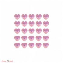 Стразы для ногтей сердечки - цвет Rose AB - 72 шт