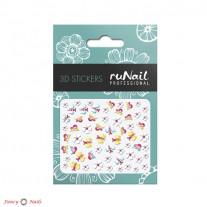 ruNail 3D Наклейки для ногтей - цветы и бабочки