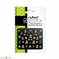 ruNail 3D Наклейки для ногтей - новогодние елки и мишки
