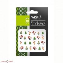 ruNail 3D Наклейки для ногтей - новогодние цветные