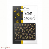ruNail 3D Наклейки для ногтей - новогодние золотые