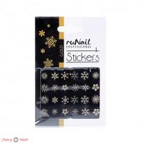 ruNail 3D Наклейки для ногтей - снежинки золотые