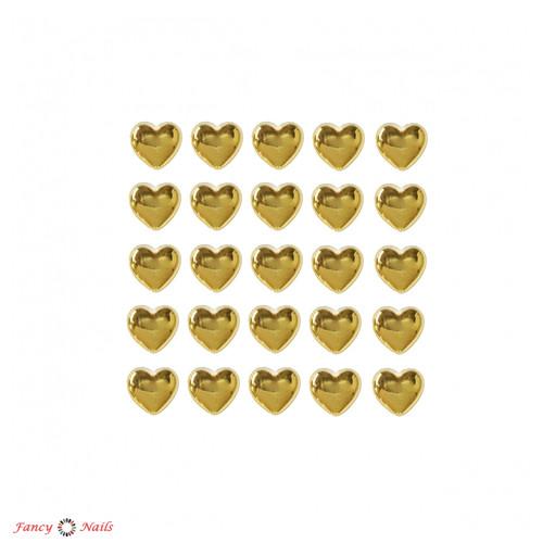сердечки для ногтей золотые