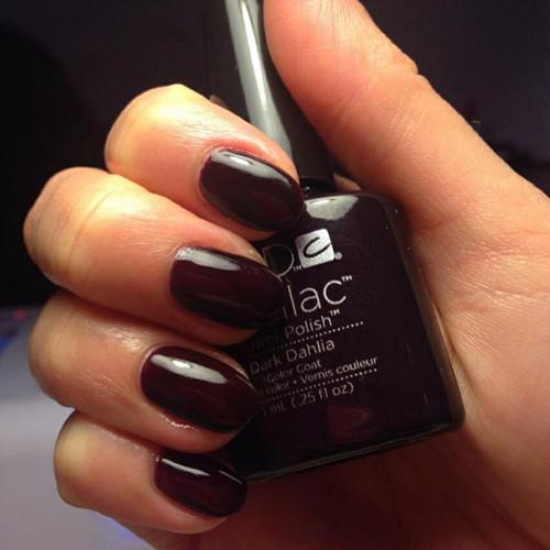 cnd shellac dark dahila фото на ногтях