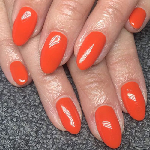 cnd shellac electric orange фото на ногтях