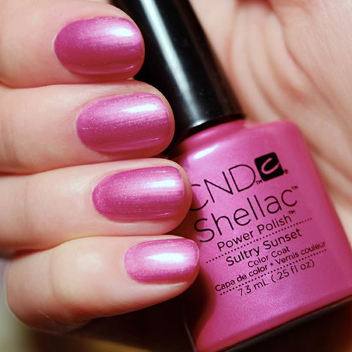 cnd shellac sultry sunset фото на ногтях