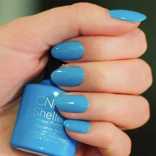 cnd shellac cerulean sea фото на ногтях