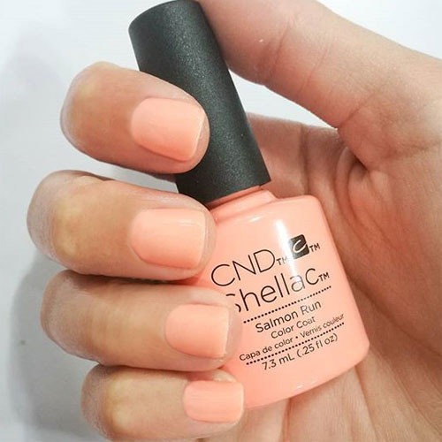 cnd shellac salmon run фото на ногтях