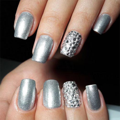 vinylux 148 silver chrome фото на ногтях