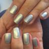 cnd shellac silver chrome фото на ногтях